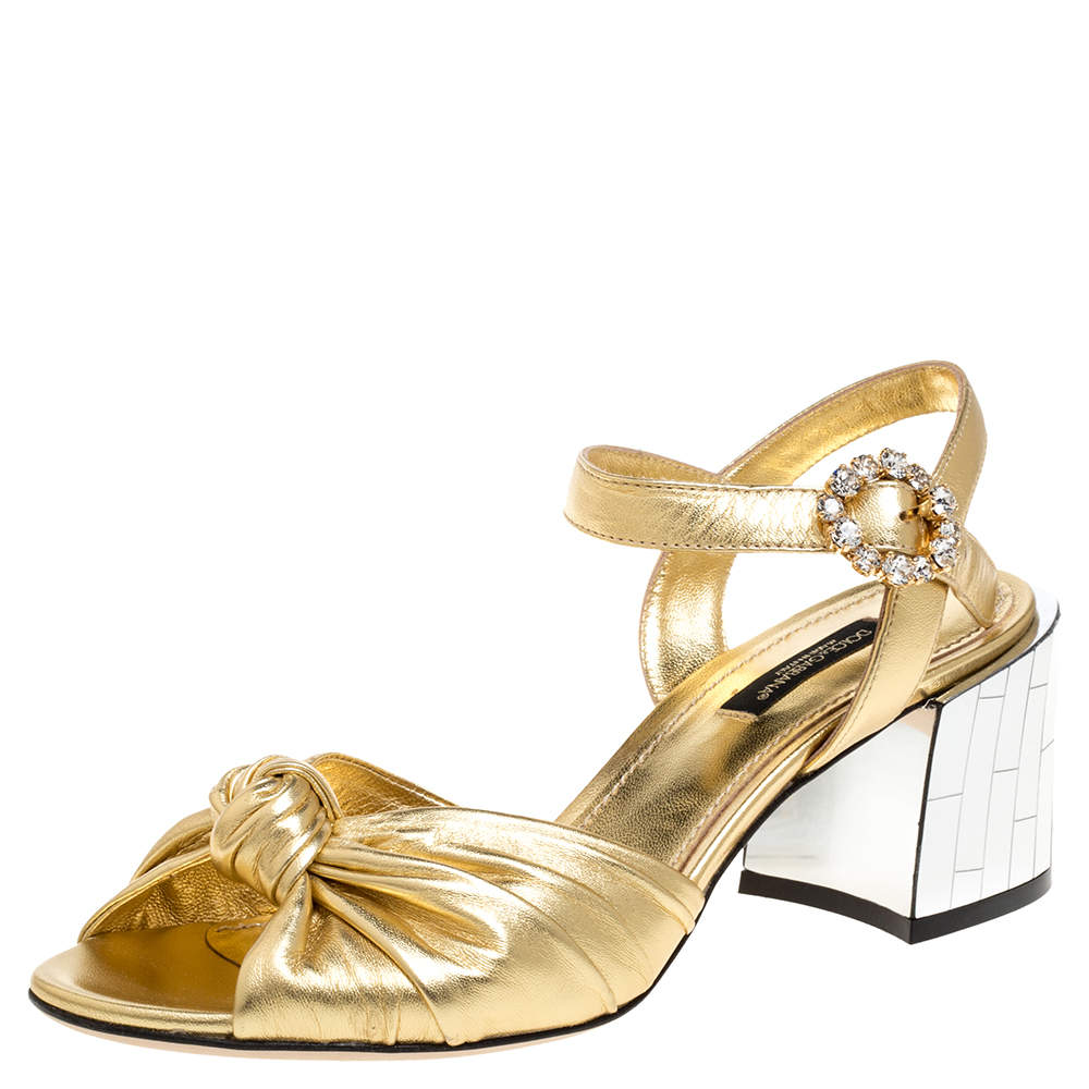Dolce & Gabbana Metallic Gold Leather Mordore Mirror Heel Ankle Strap Sandals Size 36.5