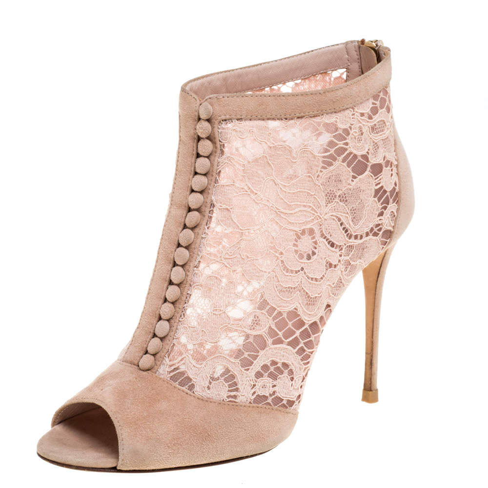 Dolce & Gabbana Pink Lace and Suede Open Toe Booties Size 37.5