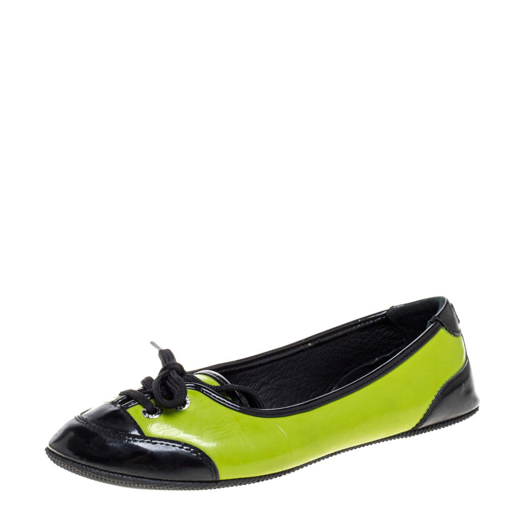 Dolce & Gabbana Green/Black Patent Leather Lace Detail Ballet Flats Size 35