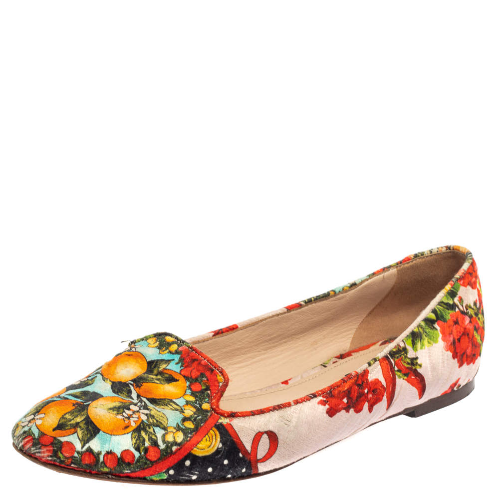 Dolce & Gabbana Multicolor Floral Print Brocade Fabric Smoking Slippers Size 38.5