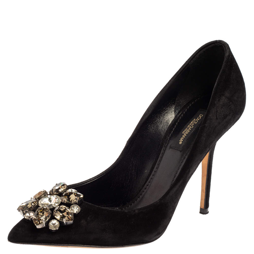 Dolce & Gabbana Black Suede Leather Crystal Embellished Pointed Toe Pumps Size 36
