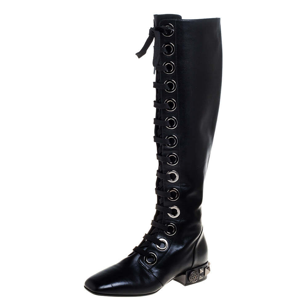 Dolce & Gabbana Black Leather Jackie Lace Up Knee Length Boots Size 38