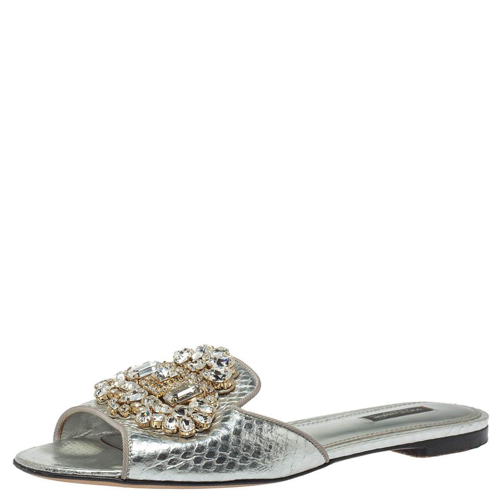 Dolce & Gabbana Silver Crystal Embellished  Snakeskin Embossed Leather Bianca Flat Slides Size39
