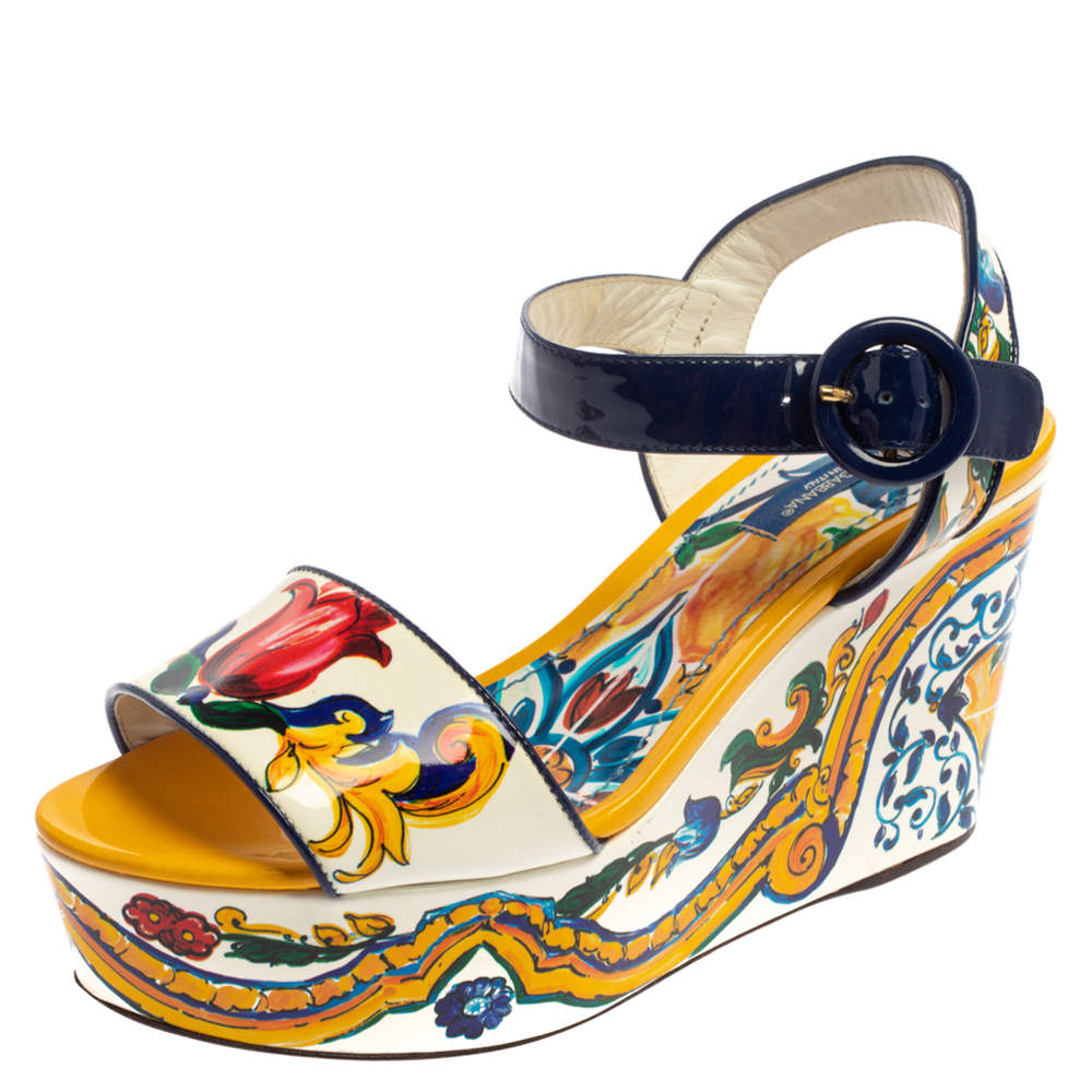 Dolce & Gabbana Multicolor Majolica Print Patent Leather Wedge Platform Ankle Strap Sandals Size 36