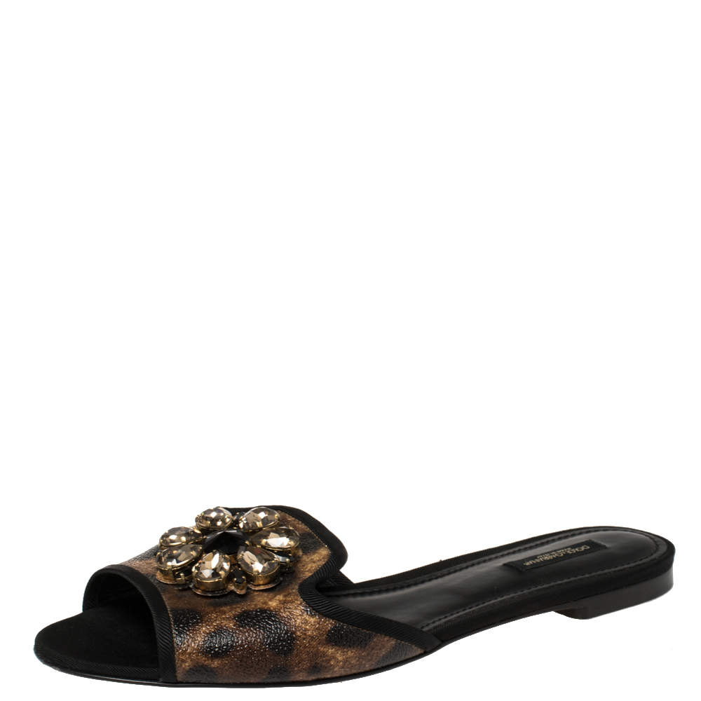 Dolce & Gabbana Brown Leopard Printed Coated Canvas Embellished Flat Slides Size 40.5