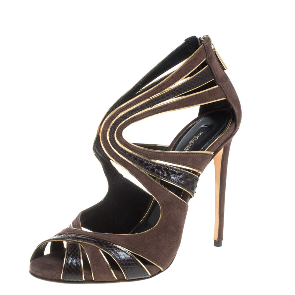 Dolce & Gabbana Brown Suede and Python Leather Sandals Size 39