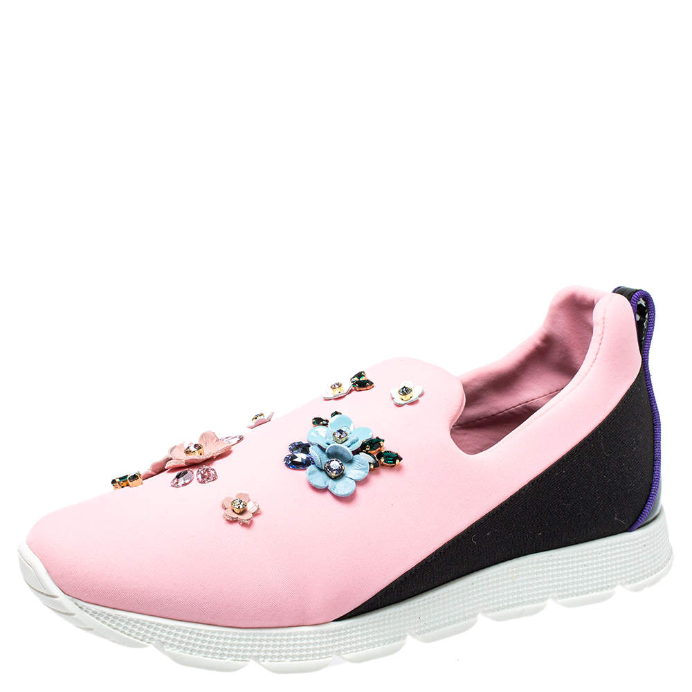 Dolce & Gabbana Pink Neoprene Embellished Slip On Sneakers Size 38