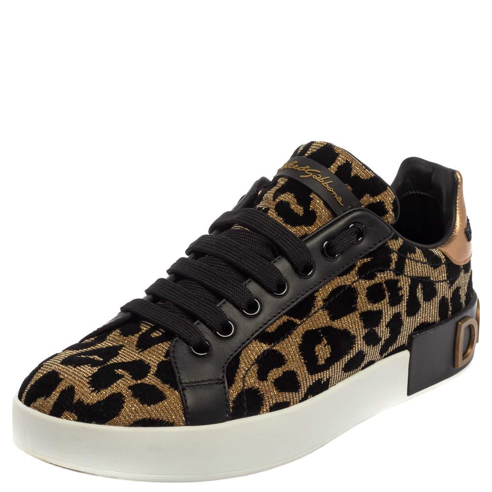 Dolce & Gabbana Black/Brown Leopard Print Lurex Fabric Logo Low Top Sneakers Size 37.5