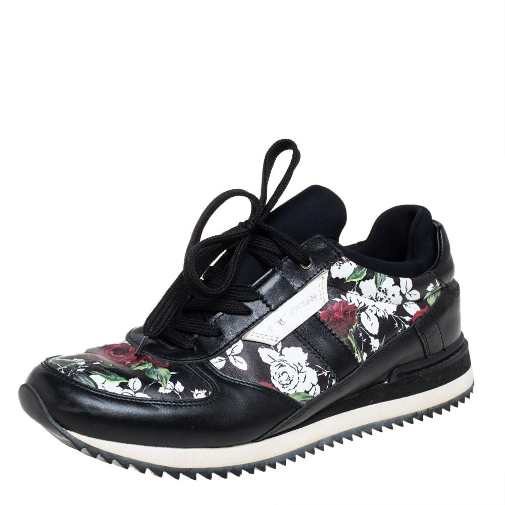 Dolce & Gabbana Black Leather Floral Print Low Top Sneakers Size 38.5