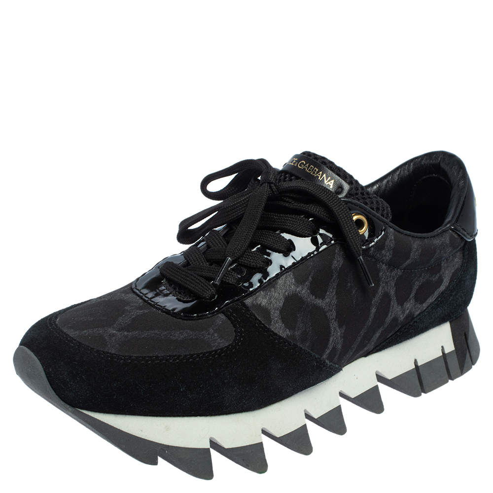 Dolce & Gabbana Black Suede And Leopard Print Nylon Low Top Sneakers Size 37