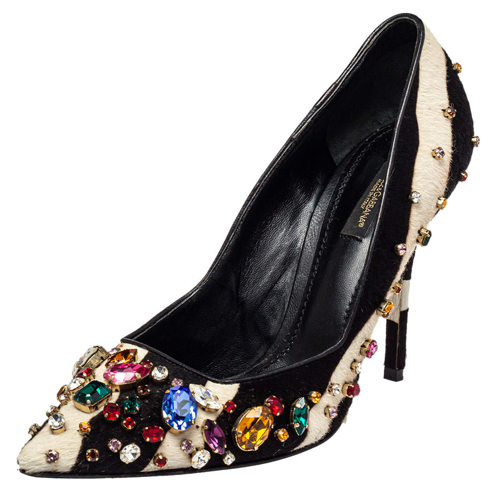 Dolce & Gabbana Black/White Leather And Calf Hair Bellucci Crystal Embellished Pumps Size 37.5