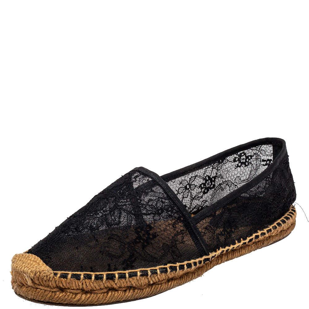 Dolce & Gabbana Black Lace Espadrille Flats Size 41