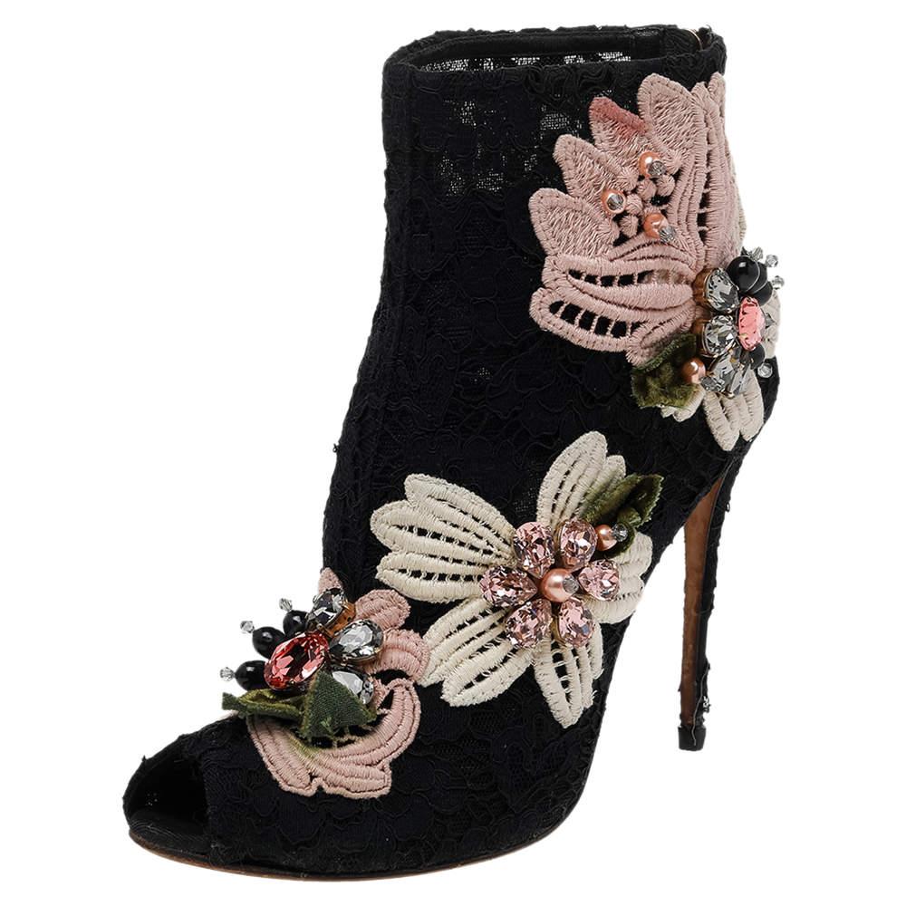 Dolce & Gabbana Black Lace Embellished Peep Toe Booties Size 37.5