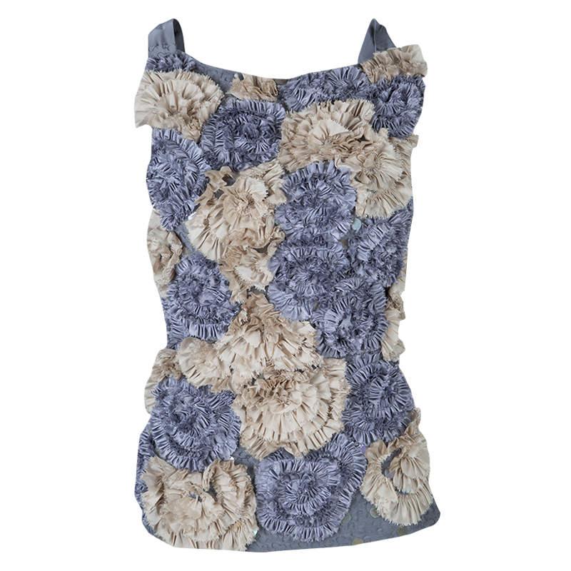 Dries Van Noten Floral Applique Textured Sleeveless Backless Top S