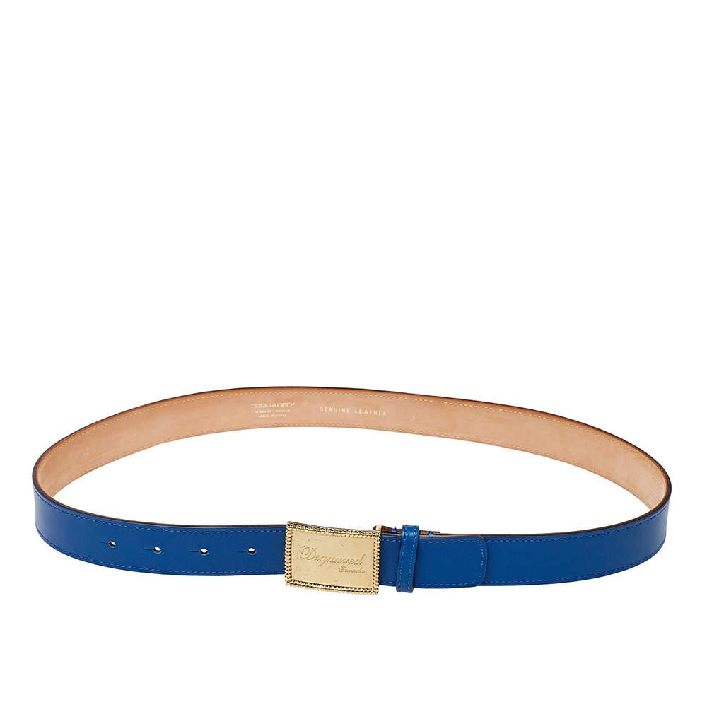 Dsquared2 Blue Leather Plaque Buckle Belt 85CM