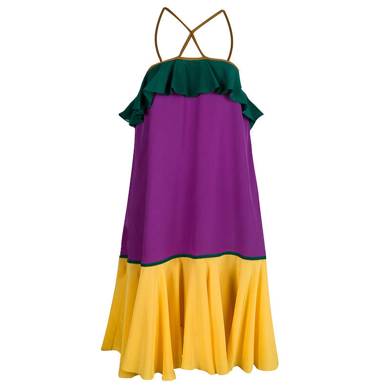 Dsquared2 Colorblock Ruffle Detail Sleeveless Silk Dress M