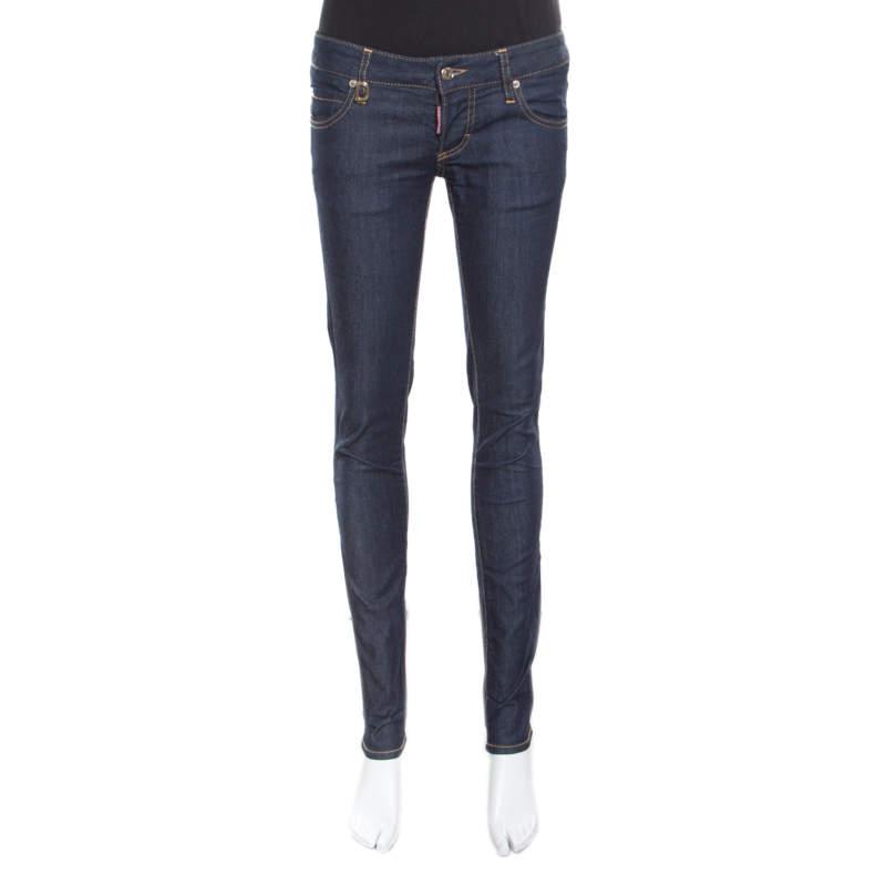 Dsquared2 Indigo Dark Wash Low Rise Slim Fit Denim Jeans S