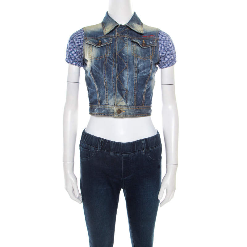 DSquared2 Indigo Distressed Faded Effect Contrast Sleeve Cropped Denim Vest S