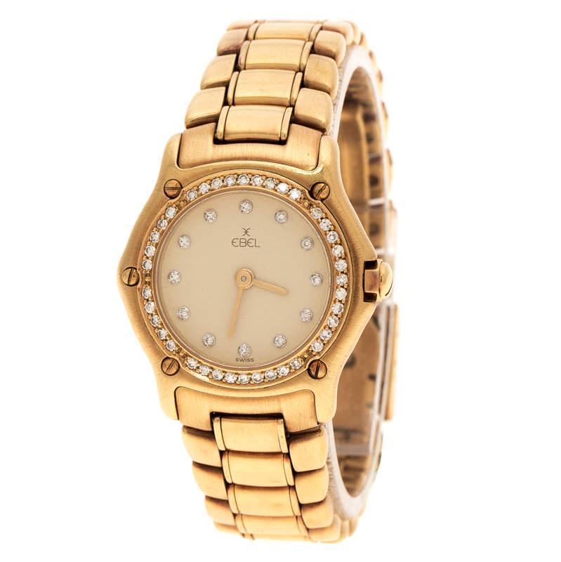 Ebel Cream18K Yellow Gold Diamond 8057902 Women's Wristwatch 24 mm