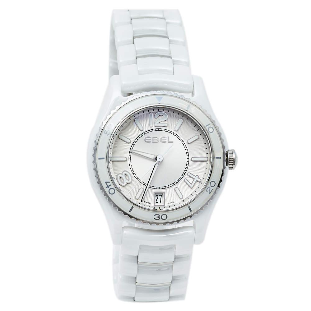 Ebel Silver White Ceramic & Stainless Steel X-1 1216129 Women's Wristwatch 34 mm