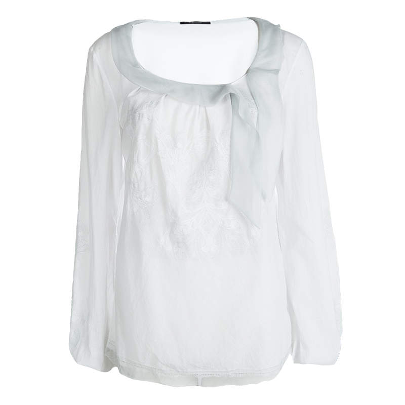 Elie Tahari White Cottton Tie Detail Embroidered Long Sleeve Top M