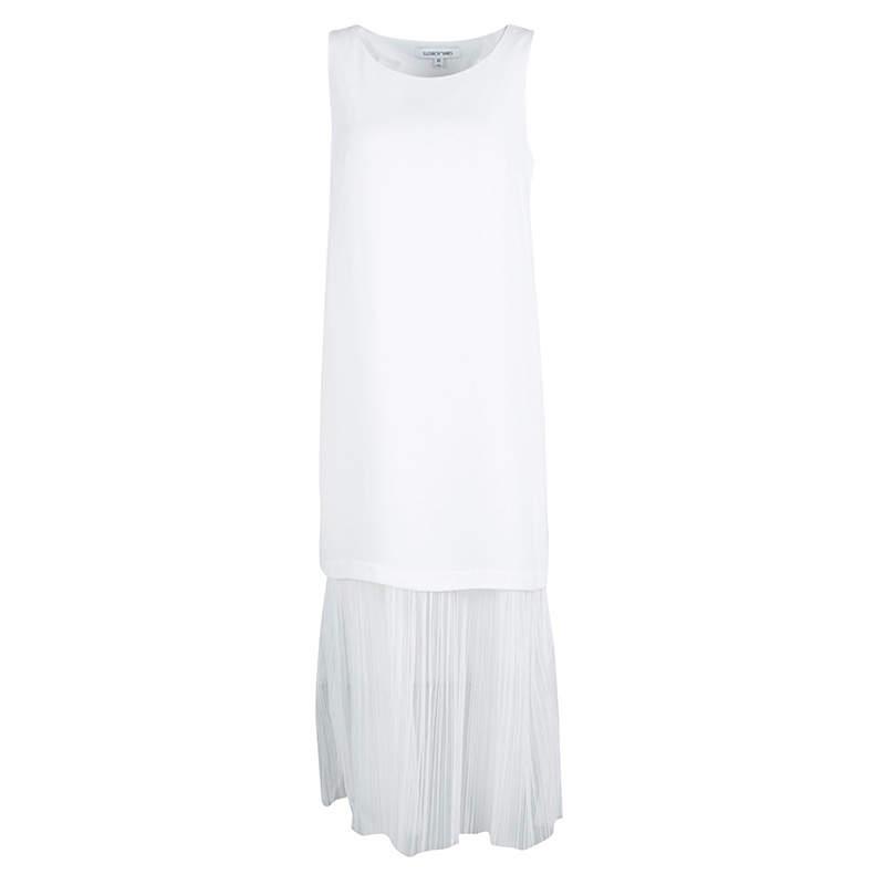 Elizabeth and James White Tulle Underlay Sleeveless Kisa Midi Dress XS
