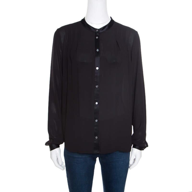 Elizabeth & James Black Crepe Satin Trim Detail Long Sleeve Blouse S