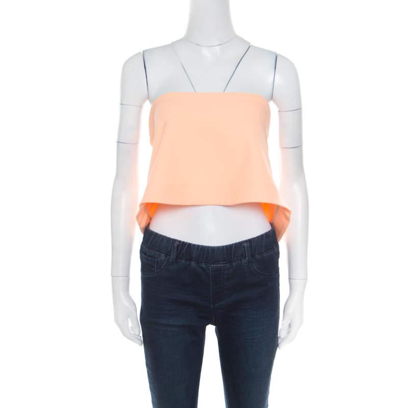 Elizabeth & James Sunwashed Orange Ponte Knit Strapless Addilyn Crop Top S