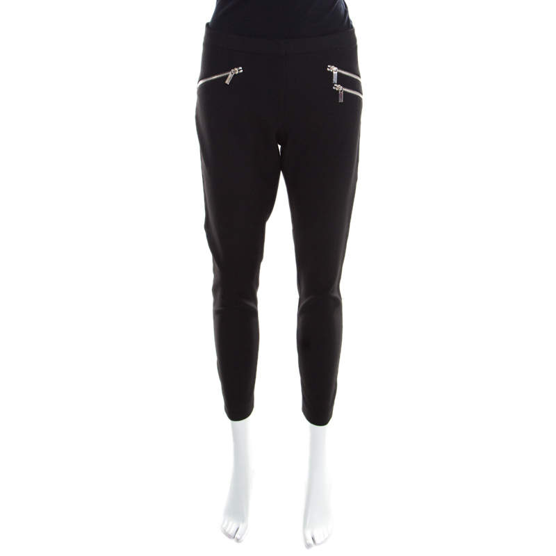Elizabeth & James Black Stretch Knit Zip Detail Tapered Trousers M