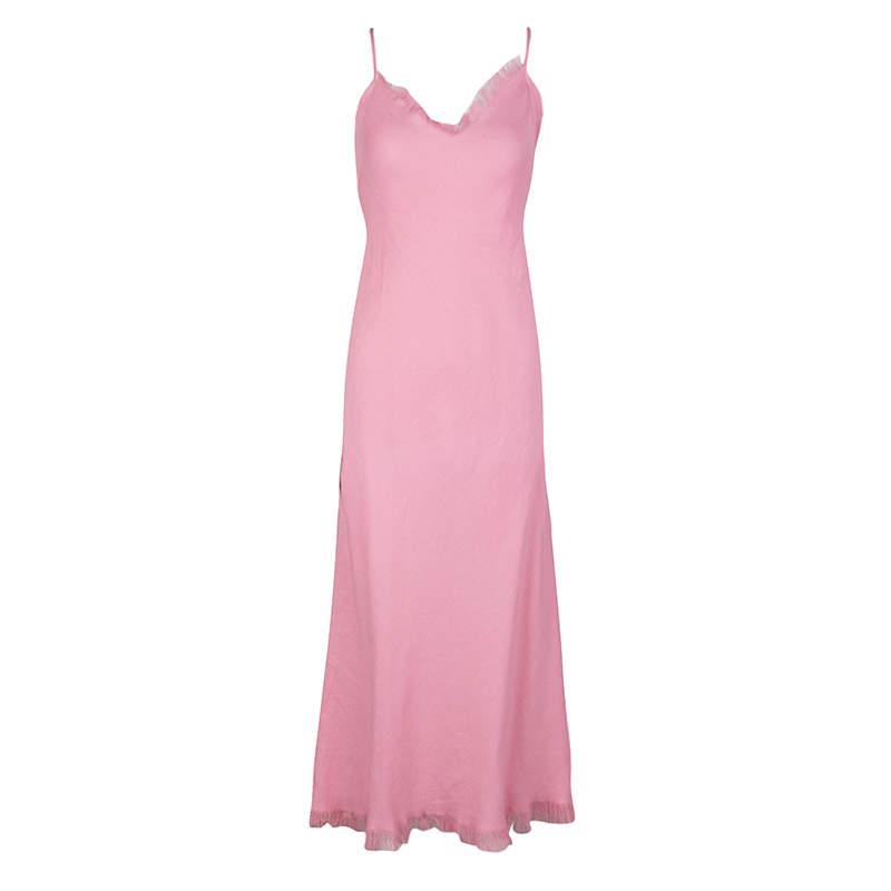 Emanuel Ungaro Pink Linen Sleeveless Maxi Dress S