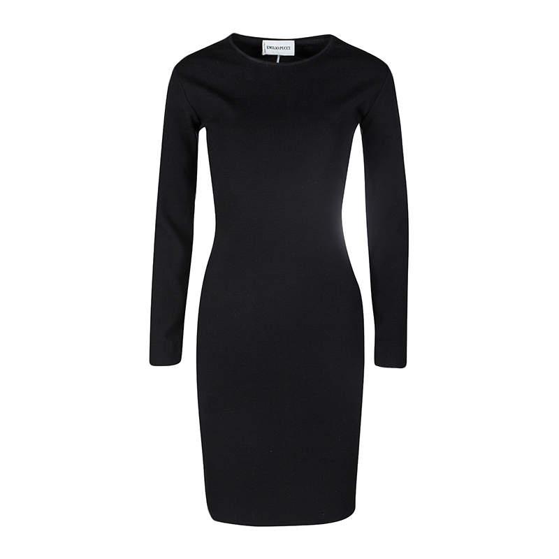 Emilio Pucci Black Wool Blend Cutout Back Detail Long Sleeve Dress M
