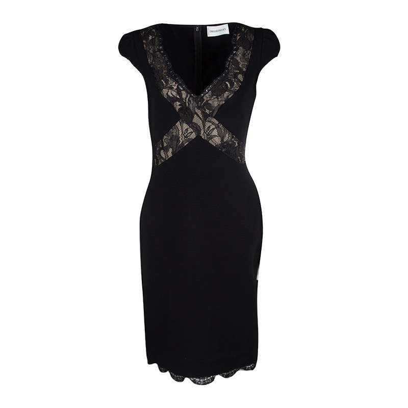 Emilio Pucci Black Scallop Lace Trim Detail Cap Sleeve Dress L