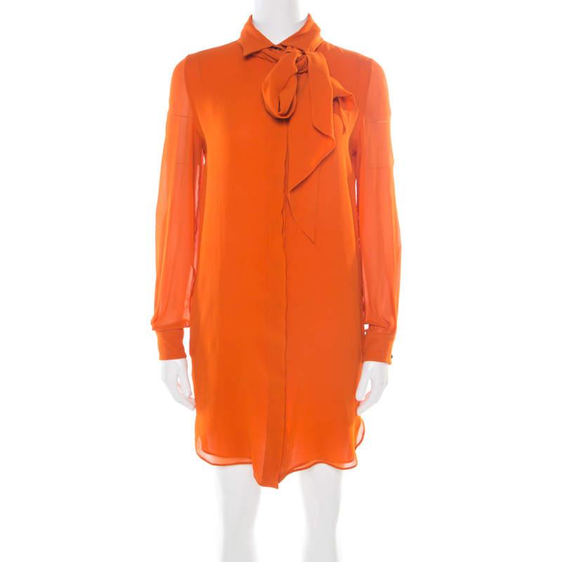 Emilio Pucci Orange Silk Crepe de Chine Neck Tie Detail Shirt Dress S