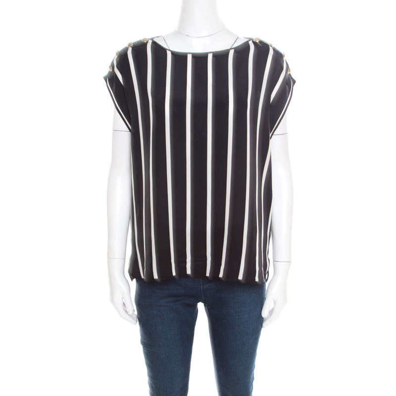 Emilio Pucci Black and White Striped Silk Oversized Sleeveless Top S