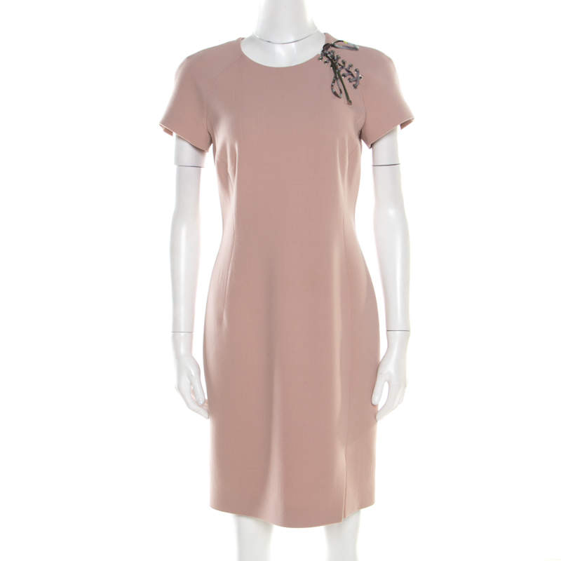 Emilio Pucci Blush Pink Wool Contrast Bodice Tie Detail Short Sleeve Dress M