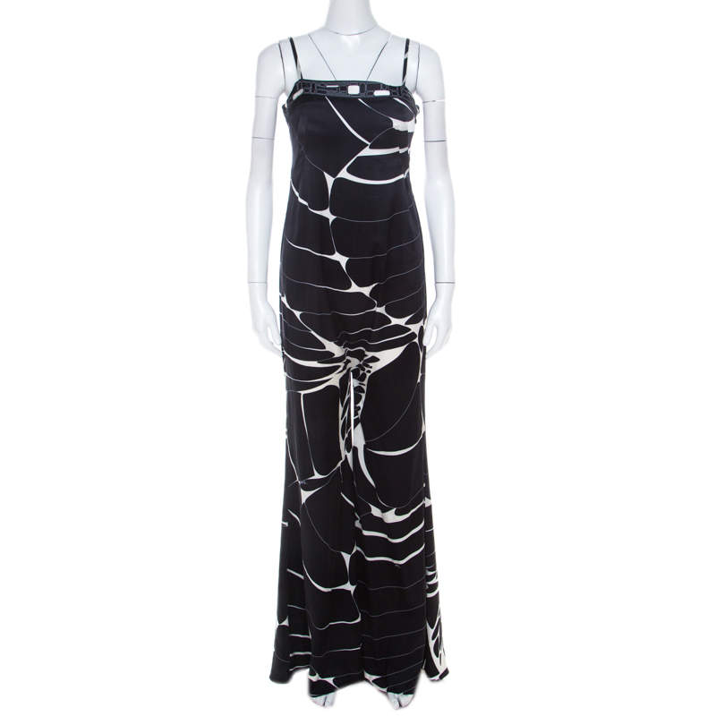 Emilio Pucci Monochrome Abstract Print Silk Strappy Jumpsuit M