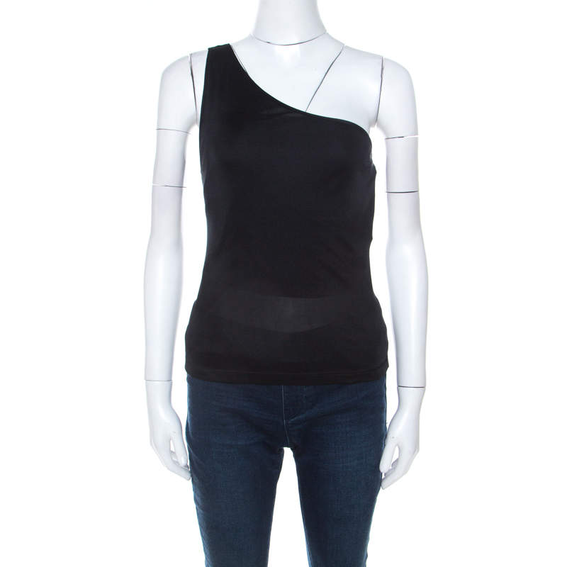Emilio Pucci Black Silk Jersey One Shoulder Top M