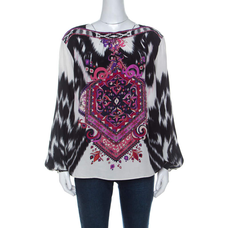 Emilio Pucci Multicolor Printed Silk Blouse M
