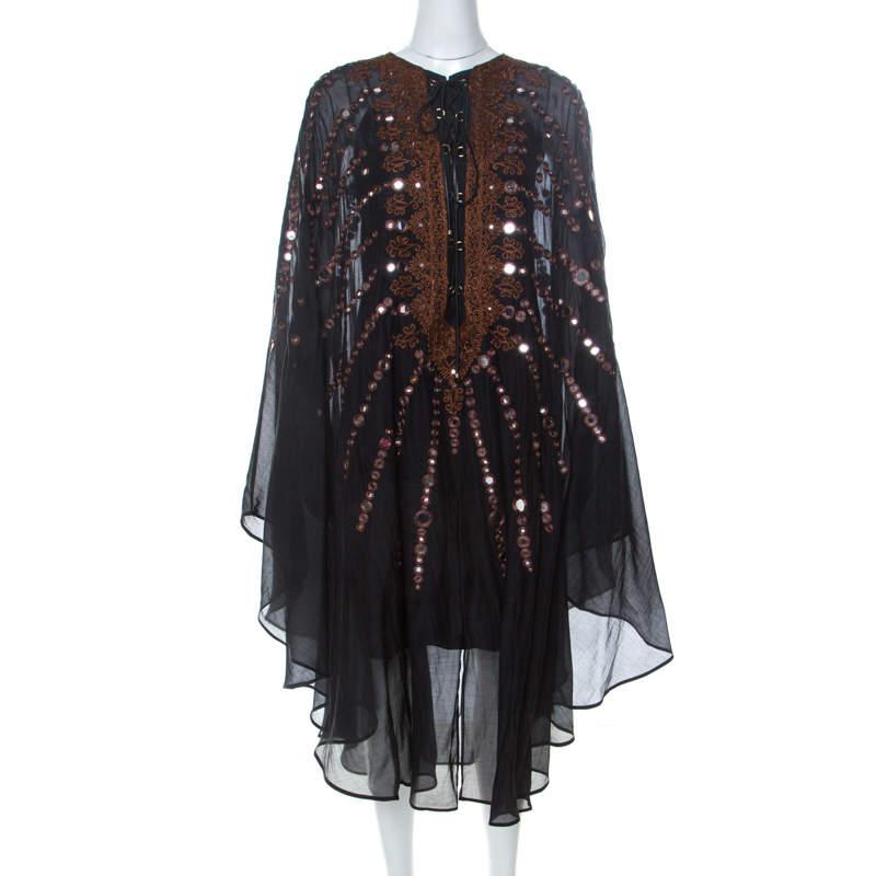 Emilio Pucci Black Mirror Embellished Silk Blend Kaftan Dress S