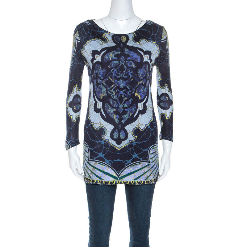 Emilio Pucci Multicolor Printed Stretch Long Sleeve Top S