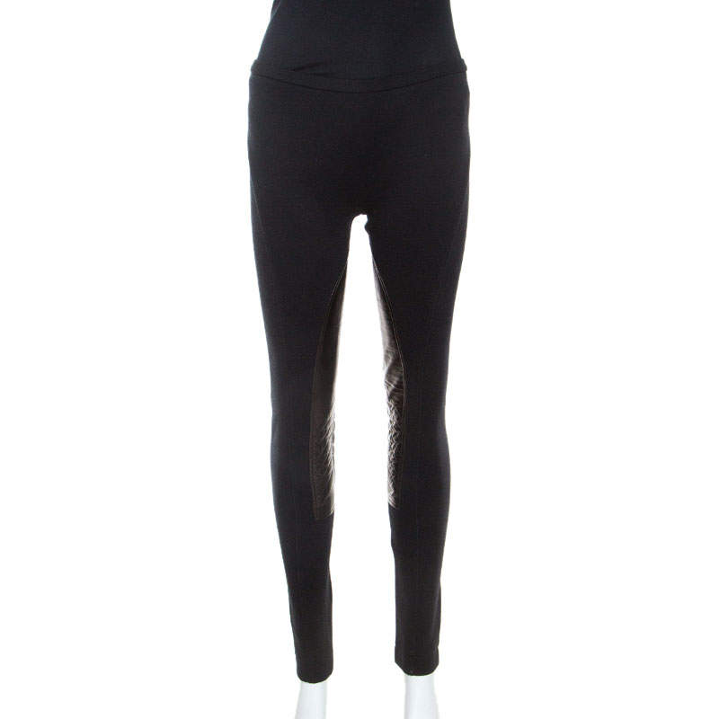 Emilio Pucci Black Stretch Wool Leather Patch Detail Leggings S