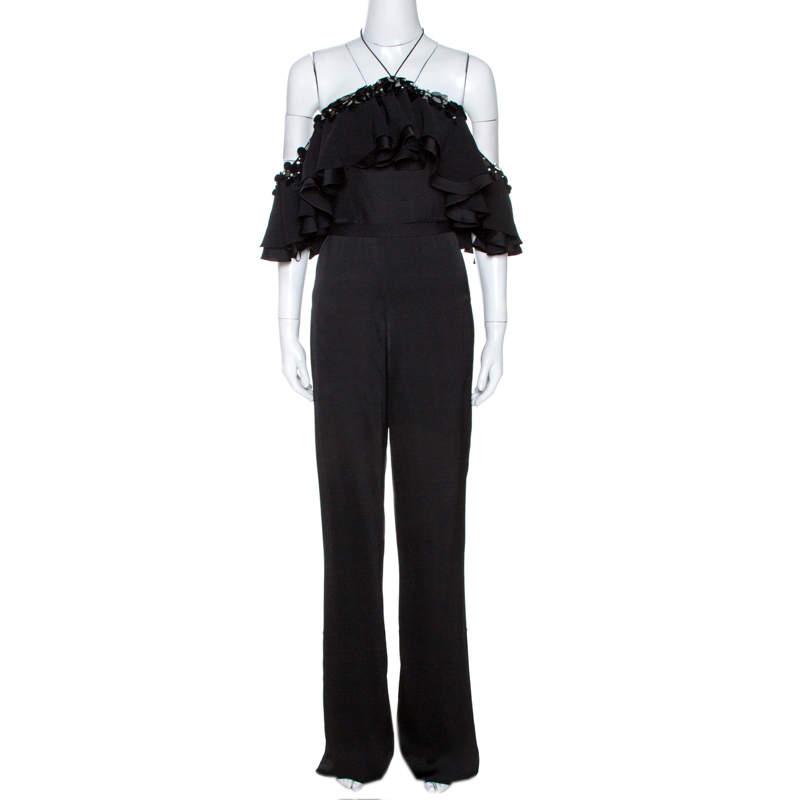 Emilio Pucci Black Crepe Embellished Ruffle Trim Jumpsuit S