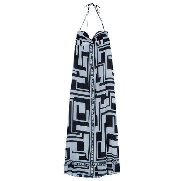 Emilio Pucci Silk Monochrome Maxi Dress M
