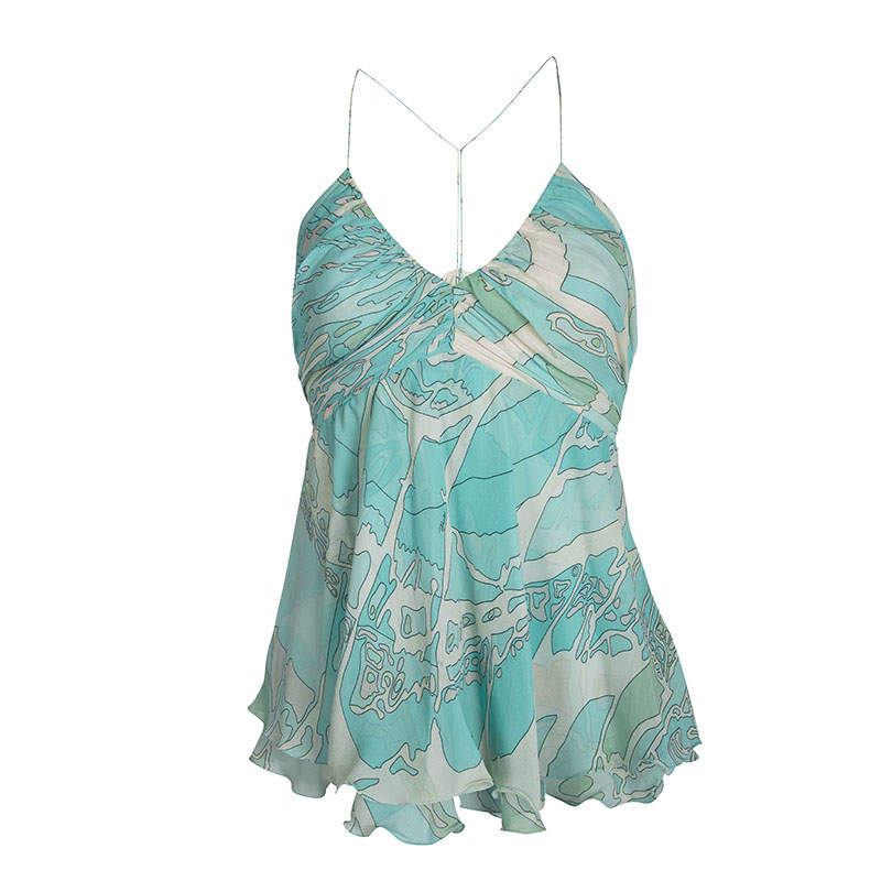 Emilio Pucci Blue Printed Silk Ruched Sleeveless Y Back Top S