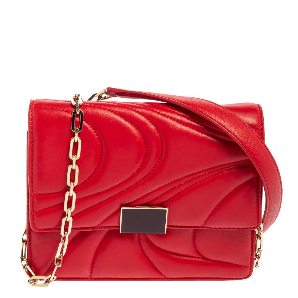 Emilio Pucci Red Quilted Leather Shoulder Bag