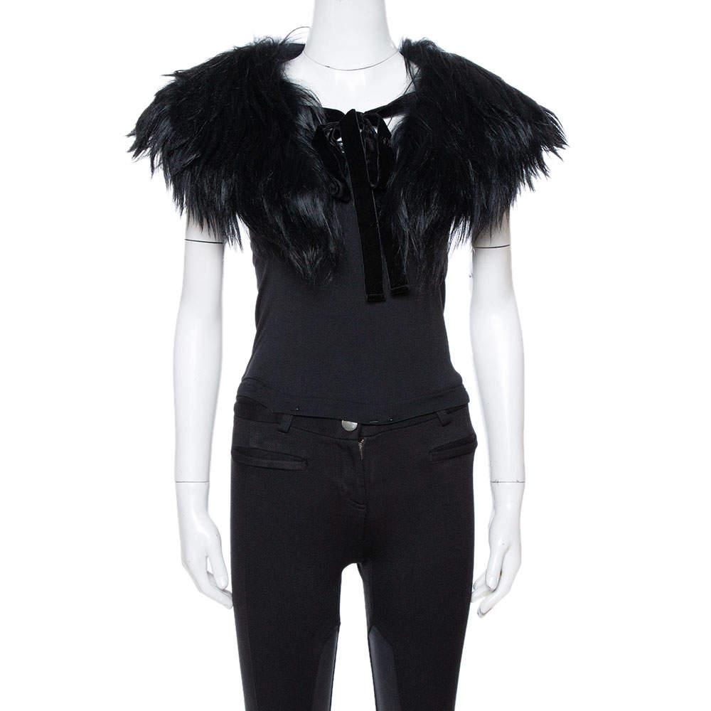 Emporio Armani Black Fur Collar