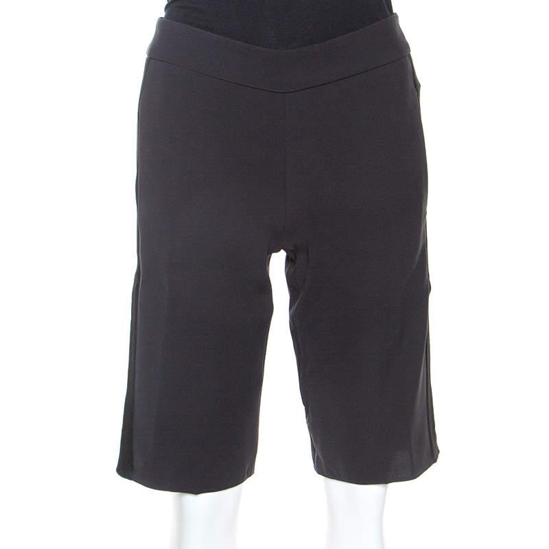 Emporio Armani Black Satin Side Stripe Detail Fitted Tuxedo Shorts S