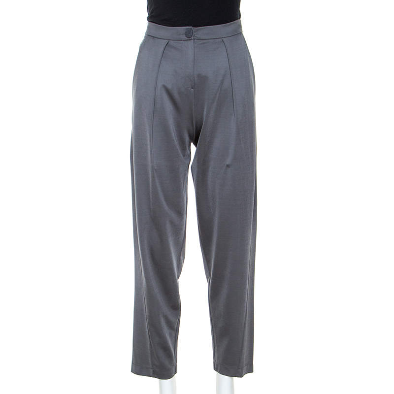 Emporio Armani Grey Stretch Tailored Trousers S