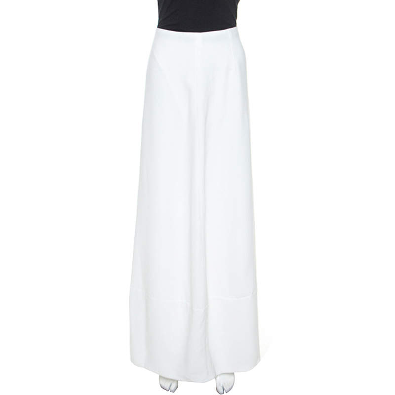 Emporio Armani White Crepe Gonna Maxi Skirt S