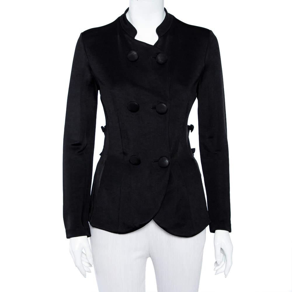 Emporio Armani Black Knit Pleated Trim Double Breasted Blazer M